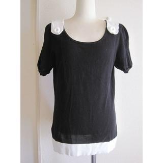 ソニアリキエル(SONIA RYKIEL)のSONIAサイズ40黒・肩にボタンのトップス♭2775(カットソー(半袖/袖なし))