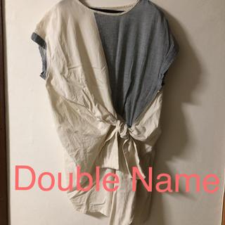 DOUBLE NAME - 変形チュニック 前結びシャツ アシンメトリー 半袖シャツ 個性的 ナチュラル