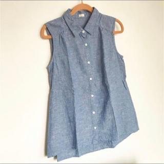 ジーユー(GU)のGU リネンノースリーブシャツ(シャツ/ブラウス(半袖/袖なし))