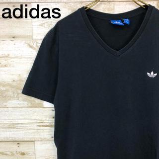アディダス(adidas)のadidas(アディダス) Vネック Tシャツ ワンポイントロゴ XO ブラック(Tシャツ/カットソー(半袖/袖なし))