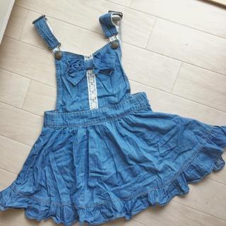 プティマイン(petit main)のデニム風 ジャンバースカート フリル 花柄 リボン(スカート)