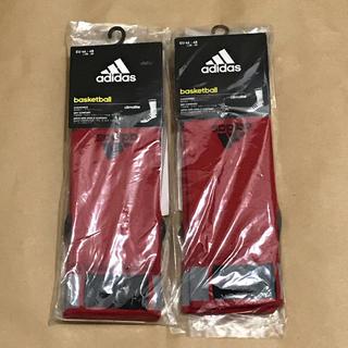 アディダス(adidas)のアディダス adidas バスケットソックス 2足 赤(バスケットボール)