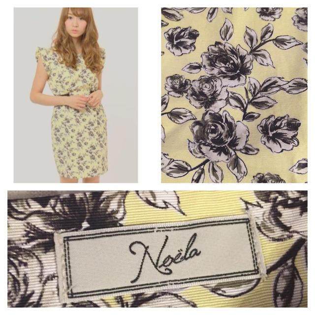 Noela(ノエラ)のノエラ♪黄×黒フリルスリーブ小花ワンピ レディースのワンピース(ミニワンピース)の商品写真
