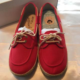 ◆新品保管品◆赤◆もっちりクッションスニーカー/ローファー◆(ローファー/革靴)