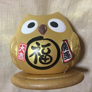 金のフクロウ 幸せ招き エネルギー発生装置(置物)