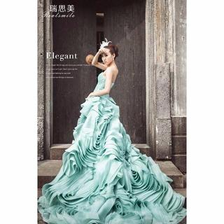 d36e2c0216c29 カラードレス ベアトップ 結婚式 披露宴 上質オーガンジー 高品質 華やか(ウェディングドレス
