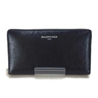 バレンシアガ(Balenciaga)のBALENCIAGA◆長財布/レザー/BLK/無地/メンズ(長財布)