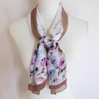 ZARA - 《送料込》サマーストール 花柄 ブラウン プリーツ インポート スカーフ