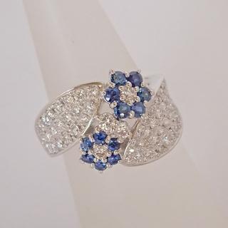 PT900 ブルーサファイア ダイヤモンド リング(リング(指輪))