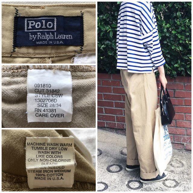 Ralph Lauren(ラルフローレン)の希少 USA製 ラルフローレン タックワイドテーパードチノパン ベージュ レディースのパンツ(チノパン)の商品写真