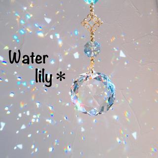 スワロフスキー(SWAROVSKI)の睡蓮.*・.*煌めく水の色✴︎スワロフスキー サンキャッチャー✴︎(モビール)
