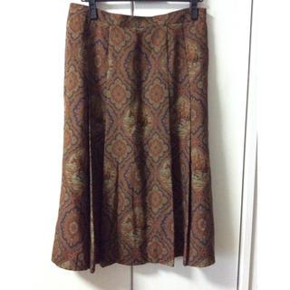 バーバリー(BURBERRY)のバーバリー大きいサイズ17R茶ボックスプリーツ膝丈スカート(ひざ丈スカート)