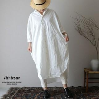 ヴェリテクール(Veritecoeur)のヴェリテクール veritecoeur 2019ss コットンダンプロングシャツ(ロングワンピース/マキシワンピース)
