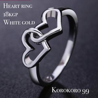18kgp ホワイトゴールド ハート リング 【12号】(リング(指輪))
