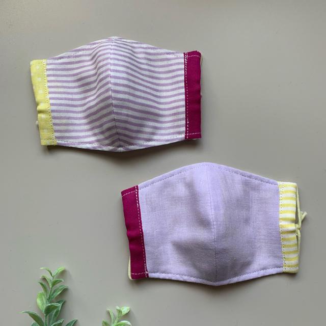 子供用 マスク(立体) ハンドメイド  女の子 2枚組 給食係の通販