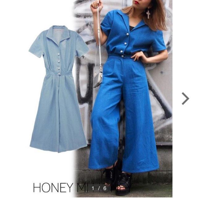 Honey mi Honey(ハニーミーハニー)のハニーミーハニーデニムロンパース レディースのパンツ(オールインワン)の商品写真