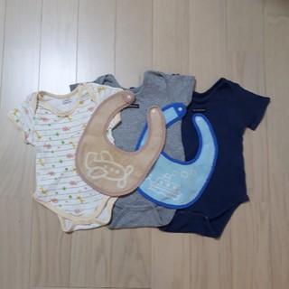 ニシマツヤ(西松屋)の半袖ロンパース肌着 80cm (3枚)&スタイ(2枚)(肌着/下着)