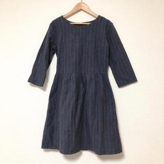 ジーユー(GU)のストライプ 七分袖ワンピース 紺(ミニワンピース)