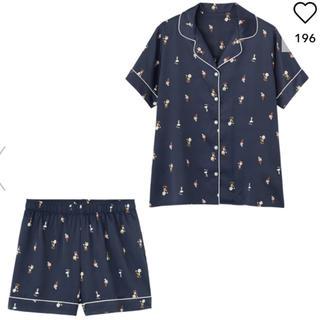 ジーユー(GU)の GU サテンパジャマ 半袖&ショートパンツ PEANUTS 新品 L (パジャマ)