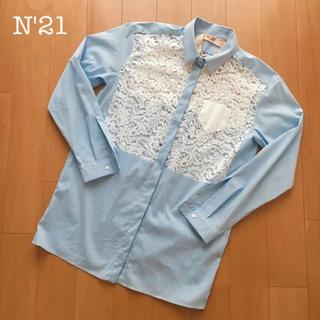 ヌメロヴェントゥーノ(N°21)のN゜21  レース切り替えシャツ サイズ38(シャツ/ブラウス(長袖/七分))