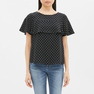 ジーユー(GU)のドットフリルブラウス(半袖)LR GU ジーユー 黒 ブラック(シャツ/ブラウス(半袖/袖なし))