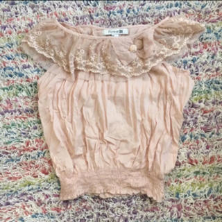 ケイティー(Katie)のレースくすみピンクシフォントップス(カットソー(半袖/袖なし))