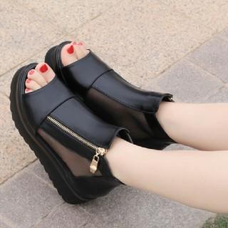 人気韓国ファッション 美脚 厚底 シースルー サンダル 黒サンダル(サンダル)