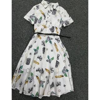 66390eecd875 シャネル(CHANEL)のシャネル Chanel ドレス ワンピース ベルト付き(ひざ丈ワンピース)