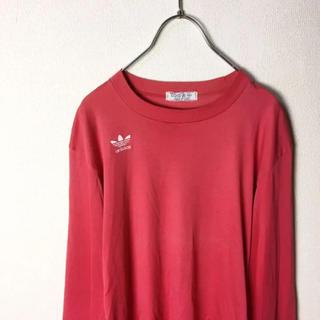 アディダス(adidas)のナイスカラー! 80s adidas トレフォイルロゴ 長袖 Tシャツ 赤 白(Tシャツ/カットソー(七分/長袖))