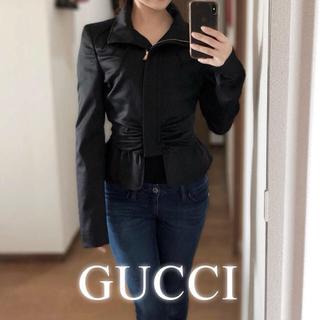dda63da8e9c7 グッチ(Gucci)のGUCCI◇ギャザー ウール ジャケット◇ブラック ペプラム 春 秋 40