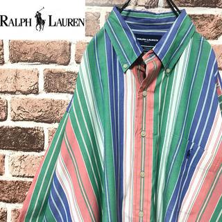 ラルフローレン(Ralph Lauren)の【激レア】ラルフローレンゴルフ最高のカラーリング刺繍ロゴ半袖BDストライプシャツ(シャツ)