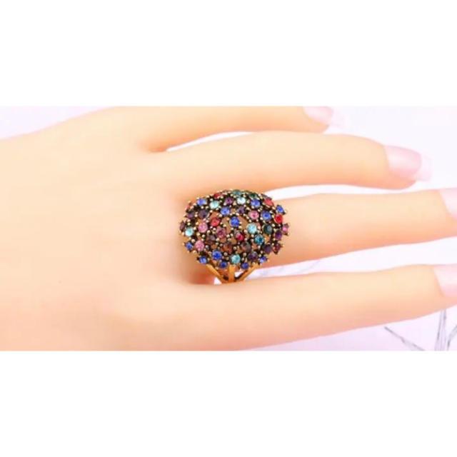 AAAランク ダイヤモンドcz マルチカラー 15号 リング 指輪 ゴールド レディースのアクセサリー(リング(指輪))の商品写真