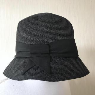 フォクシー(FOXEY)のフォクシー リボン付きストローハット 美品(麦わら帽子/ストローハット)