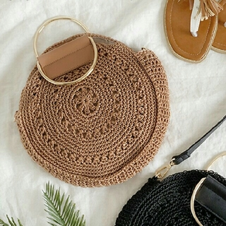 シマムラ(しまむら)のしまむら  サークル ショルダーバッグ  新品 かごバッグ 編みバッグ(ショルダーバッグ)