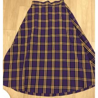 ジーユー(GU)のGU チェックロングスカート(ロングスカート)