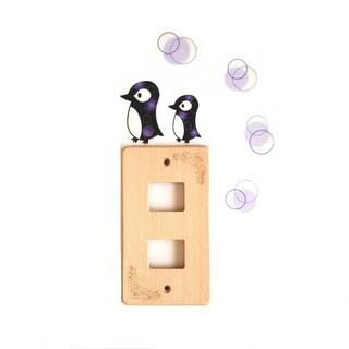 ペンギンとふわまるのウォールステッカー(パープル)(インテリア雑貨)