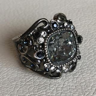 (35)大粒ビジューのクラシカルリング ブラック(リング(指輪))