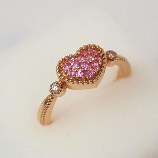 ポンテヴェキオ(PonteVecchio)のポンテヴェキオ|リング 指輪 ダイヤ ハート ピンク 7号 K18YG|極美品(リング(指輪))