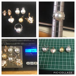 真珠セットk18/pt900/k14(リング(指輪))