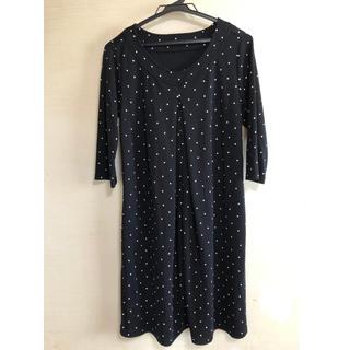 ベルメゾン(ベルメゾン)のベルメゾン 授乳服 ワンピース Mサイズ 黒 ドット(マタニティワンピース)