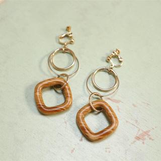レイビームス(Ray BEAMS)のsquare wood earring(イヤリング)