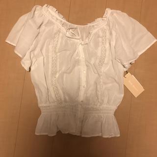 シマムラ(しまむら)の新品 L ブラウス トップス 白 ホワイト(シャツ/ブラウス(半袖/袖なし))