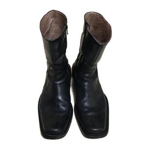 コムデギャルソン(COMME des GARCONS)のスクウェア レザー ブラック ブーツ(ブーツ)