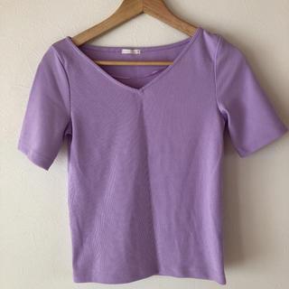 ジーユー(GU)のGU リブ調 Vネック Tシャツ(Tシャツ(半袖/袖なし))