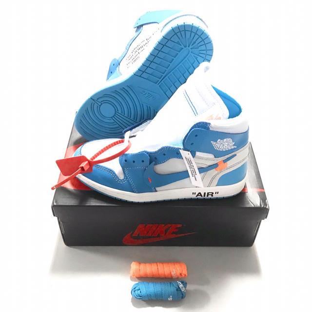 正規品 OFF-WHITE × NIKE エアジョーダン1 レトロ ブルー メンズの靴/シューズ(スニーカー)の商品写真