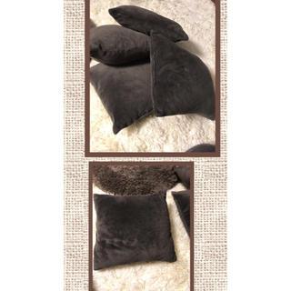 ムジルシリョウヒン(MUJI (無印良品))の無印 ミニクッション 4個セット ベロア ブラウン 25×25(クッション)