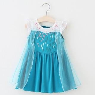 子供ドレス ワンピース アナ雪 エルサ 女王 プリンセス お姫様 (ワンピース)