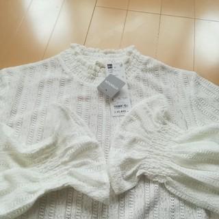ジーユー(GU)の【新品タグ付き】GU フリルネックT(Tシャツ(長袖/七分))