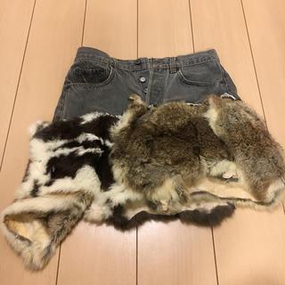 アッシュペーフランス(H.P.FRANCE)のtomoki yurita リメイクファースカート 夏冬OK(ミニスカート)