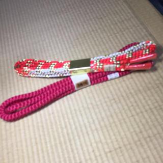 新品【帯締めセット◆ピンク&オレンジ✖️金糸◆絹100%】(和装小物)